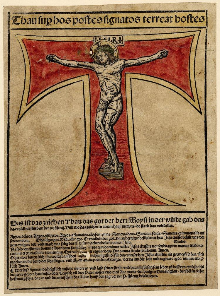 Op deze houtsnede is een grote Griekse Tau afgebeeld, rood gekleurd. Daaraan hangt het lichaam van Christus alsof de letter Tau het kruis is waaraan hij werd vastgenageld. Boven en onder de afbeelding is een tekst te lezen, boven in het Latijn, onder in het Duits.