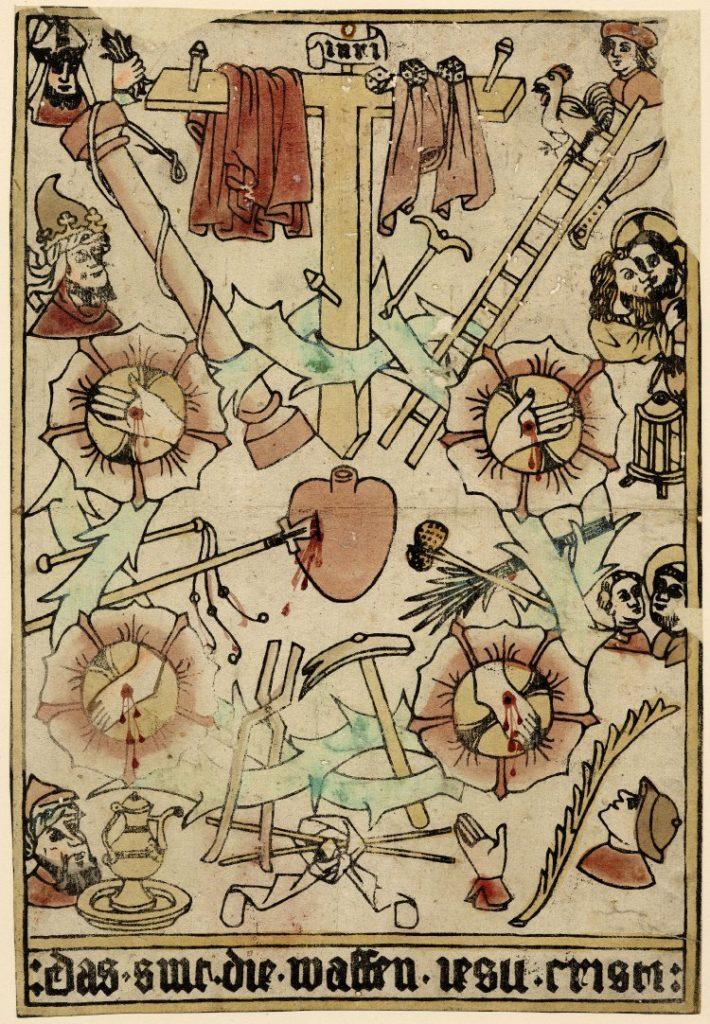 Een doornenkroon omringt het hart van Christus dat van links wordt doorboord met een lans. Door de takken van de doornenkroon zijn andere passie-instrumenten gestoken, zoals de hamer, de stok met de in azijn gedrenkte spons en een ladder. Bovenin de kroon steekt het kruis met de nagels en het twee gewaden over de dwarsbalk. Op vier punten van de kroon bloeit een roos met daarin de doorboorde handen en voeten van Christus. Rondom de doornenkroon zijn nog meer attributen te zien die met de Passie te maken hebben, zoals de gezichten van Christus' bespotters. Onder de prent is een Duitse tekst te lezen: Das sint die waffen iesu cristi.