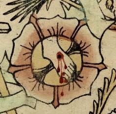 Dit detail van de hier beschreven houtsnede laat de doorboorde linkervoet van Christus zien in het hart van een bloeiende roos. Het roodgekleurde bloed stroomt uit de wond.