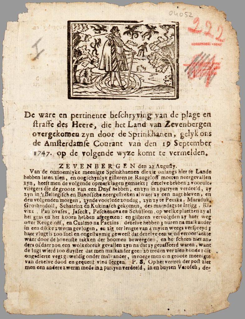 Liedblad met een houtsnede en een gekopieerd krantenartikel over de sprinkhanenplaag in Zevenbergen, ofwel Transsylvanië in augustus 1747. Boven de tekst is een afbeelding van een tovenaar gedrukt.