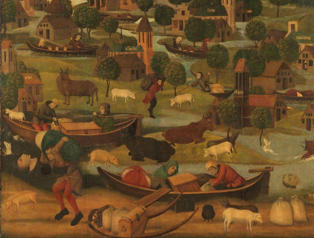 De voorstelling van de Sint-Elisabethsvloed toont de slachtoffers die zich proberen te redden.