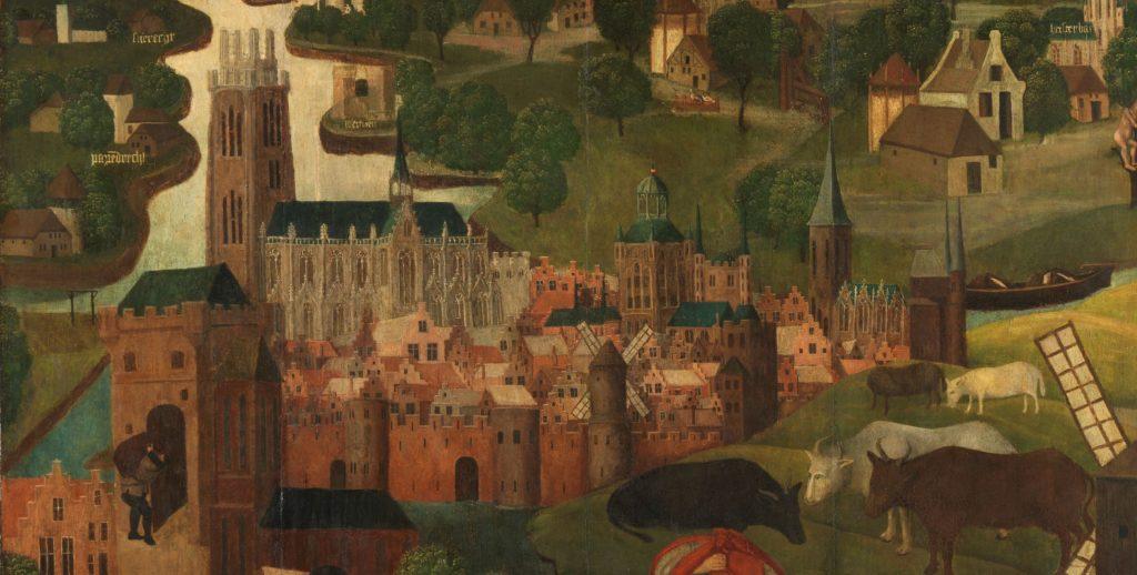 Op dit detail van het linkerpaneel van de Sint-Elisabethsvloed is de stad Dordrecht te zien, omgeven door water. De toren van de Grote Kerk rijst hoog boven de stad uit. Een man met een zware zak op zijn rug loopt gebukt door de stadspoort naar binnen.