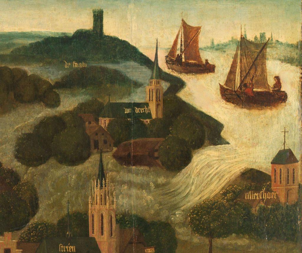Detail van het rechter paneel van de Sint-Elisabethsvloed: In het landschap ligt een dijk die is doorgebroken tussen de kerken van de dorpjes Wieldrecht en Cillarshoek. Vanuit de rivier kolkt het water in de polder. Een boerderij wordt meegesleurd door het water.