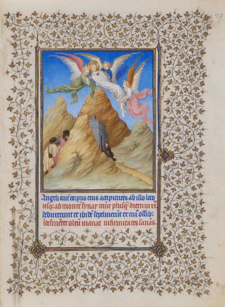 Engelen dragen het lichaam van Catharina van Alexandrië door de lucht naar de berg Sinaï. Aan de voet van de berg ligt een klooster. Pelgrims klimmen de berg op.