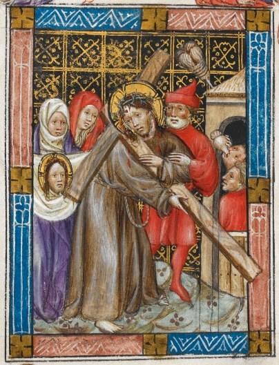 Christus met het kruis op zijn schouder draait zijn hoofd om. Hij kijkt naar een vrouw met een doek in haar handen waarop een afdruk te zien is van het gelaat van Christus. Dit reliek werd in Rome bewaard.