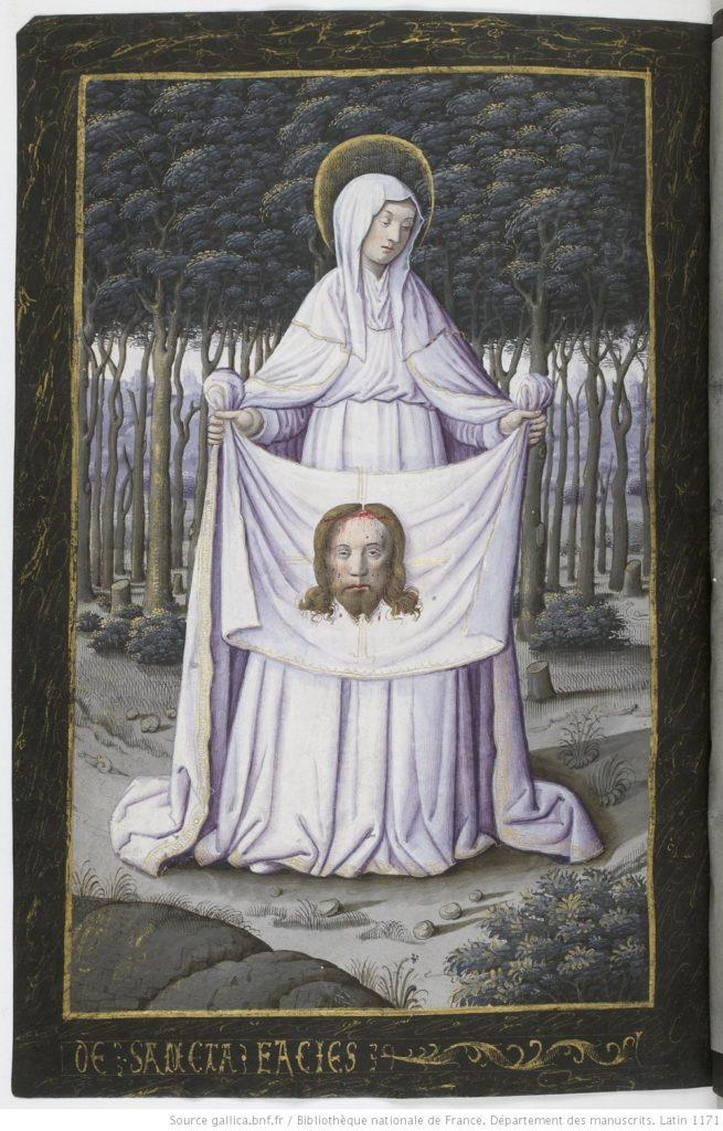 Veronica, geheel in het wit gekleed, houdt met twee handen een doek omhoog. Voor de doek is het hoofd van Christus zichtbaar. Druppels bloed stromen langs zijn voorhoofd naar beneden.