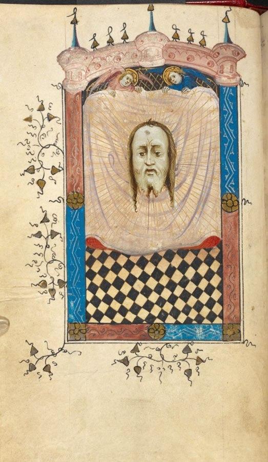 Twee engelen houden een doek omhoog. Voor de doek is het hoofd van Christus zichtbaar, reusachtig groot.