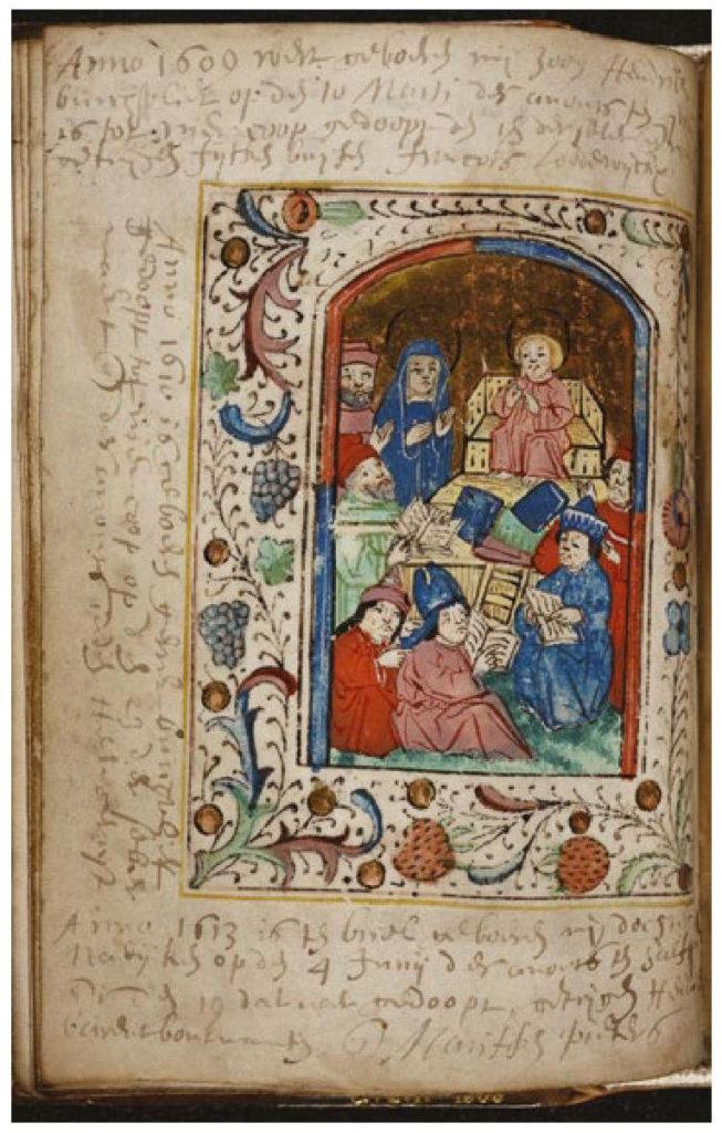 Miniatuur met de twaalfjarige Christus in de tempel. Rondom de miniatuur staan familienotities over geboortes in 1609, 1610 en 1613.