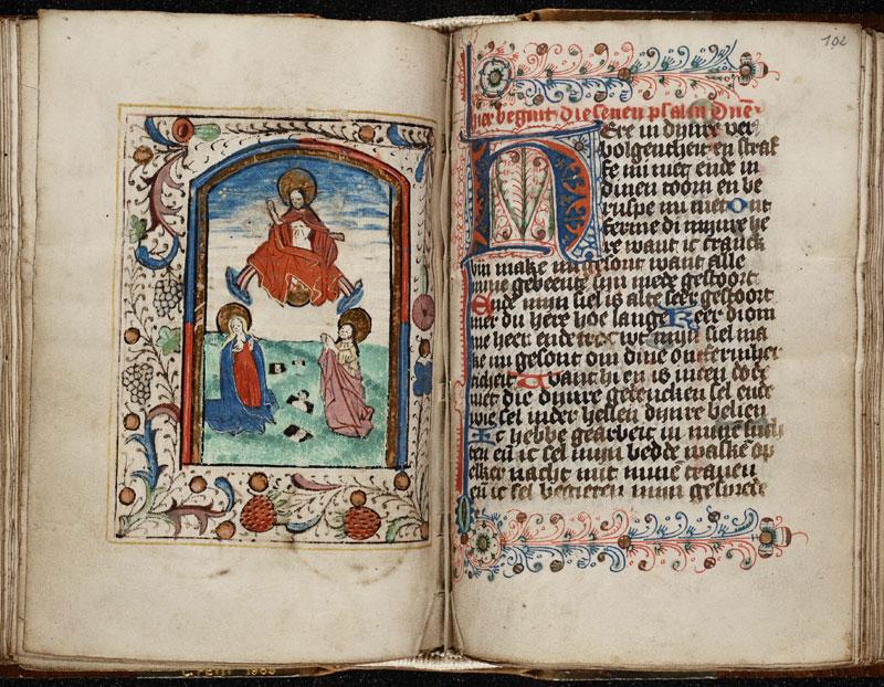 Opening in een getijdenboek in de Koninklijke Bibliotheek van België met het begin van de boetpsalmen, voorafgegaan door een miniatuur van het Laatste Oordeel.
