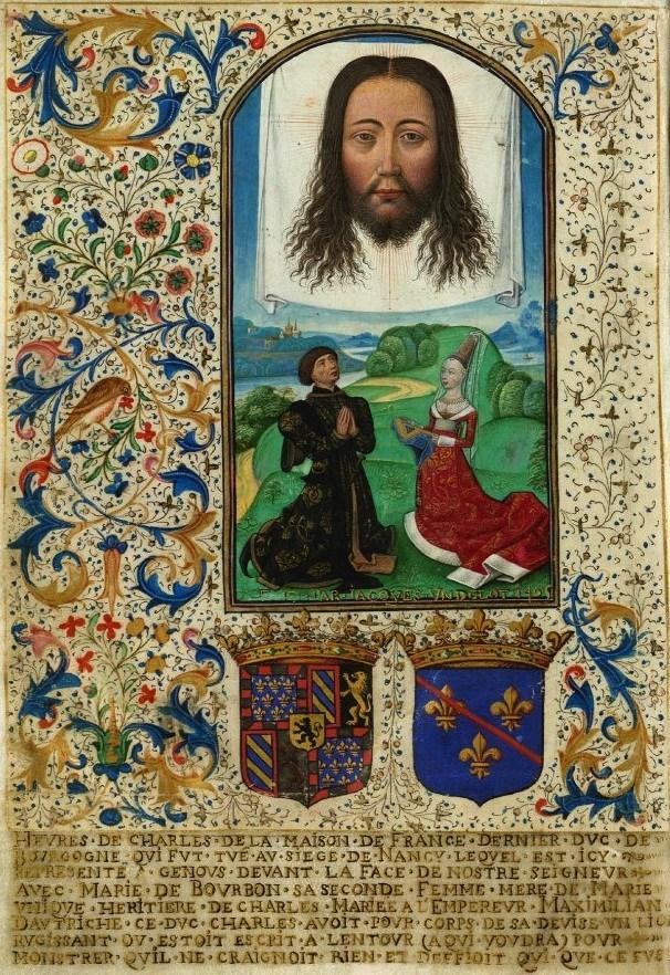 Een echtpaar knielt in een landschap. De vrouw kijkt in een gebedenboek, de man kijkt omhoog naar een doek waarvoor het hoofd van Christus te zien is.