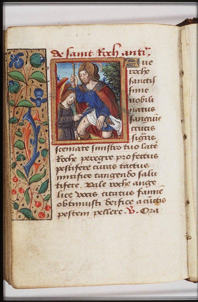Pagina uit een getijdenboek met een gebed tot Rochus als beschermer tegen de pest. De kleine miniatuur toont Rochus gekleed als pelgrim. Hij laat de wond in zijn been zien. Een engel verzorgt hem. In de tekst wordt Rochus aangeroepen als patroon tegen de pest.