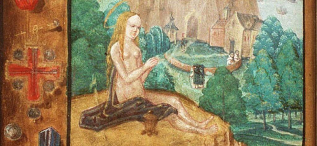 Dit detail van de besproken miniatuur toont Maria Magdalena en in de rand een kruisvormig juweel dat is geschilderd alsof het vastgepind zit met een speld. Achter Maria Magdalena is het klooster met dominicanen te zien.
