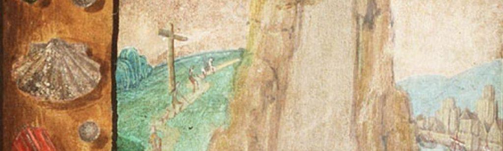 Het detail van de miniatuur emt Maria Magdalena toont de pelgrims die tegen de berg op lopen. In de rand is de schelp afgebeeld.