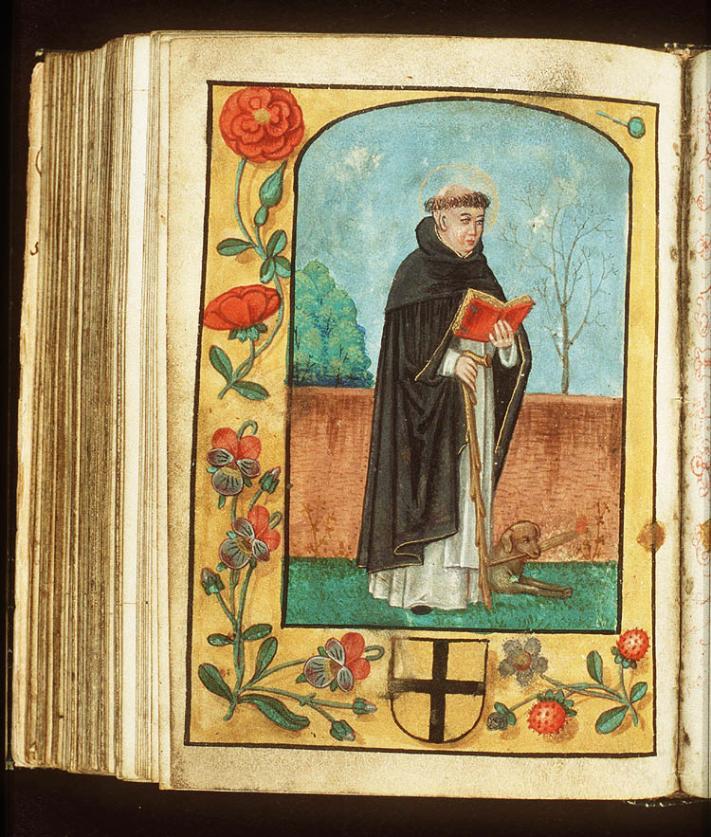 De heilige Dominicus van Caleruega draagt een pij van de dominicanen.  In de marge is een schild met wapen van de familie Bylant te zien.