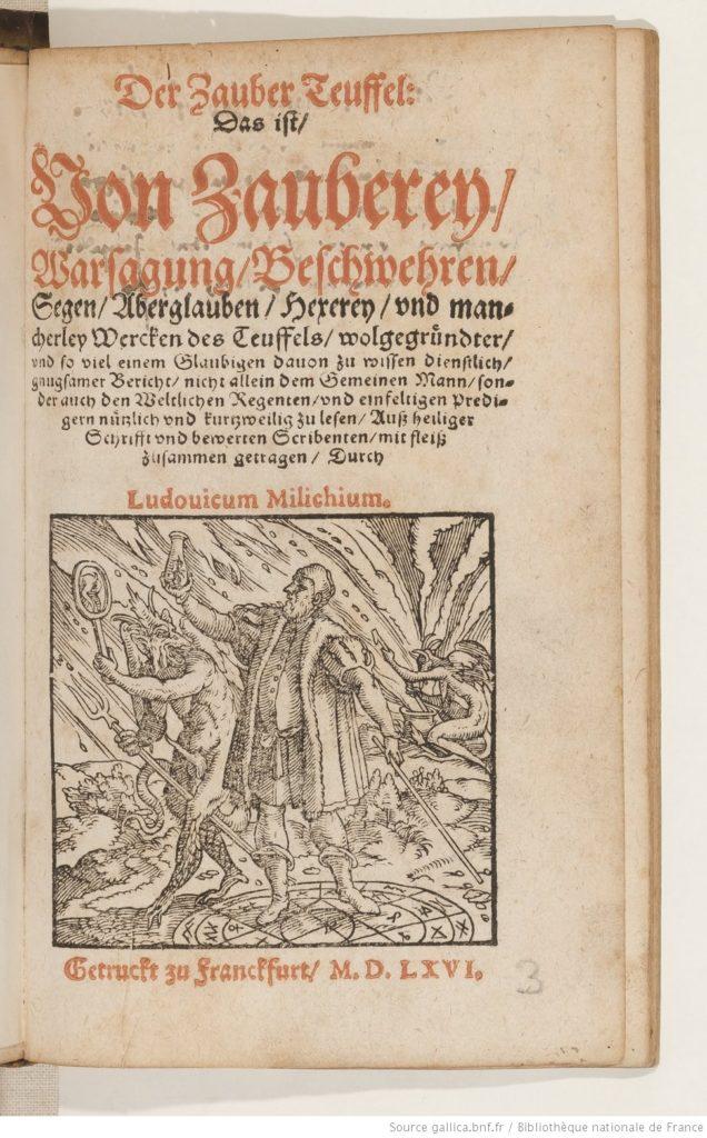 De houtsnede toont een tovenaar met een stok die staat op een patroon van concentrische cirkels, opgevuld met magische symbolen. Hij heft een fles waarin een kleine duivel is gevangen. Een manshoge duivel staat naast hem. Op de achtergrond roert een tweede duivel in een pot.