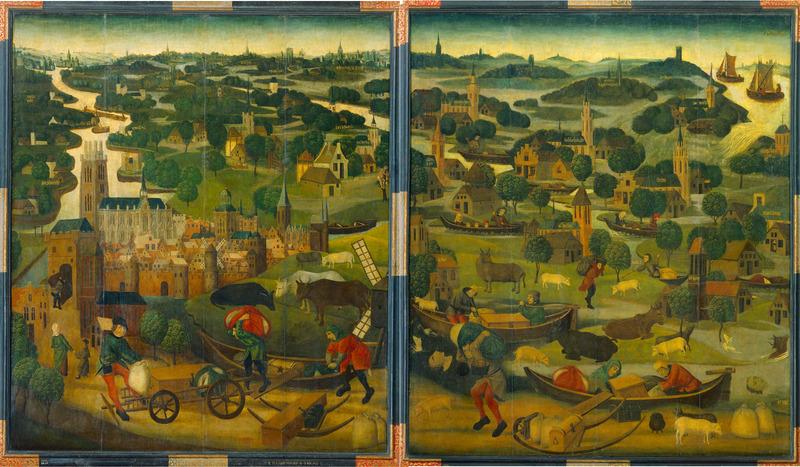 Twee panelen tonen het landschap van de Grote Waard na de Sint-Elisabethsvloed met de dijkdoorbraak in de achtergrond van het rechter paneel. De slachtoffers zijn onderweg naar Dordrecht dat op het linker paneel is afgebeeld.
