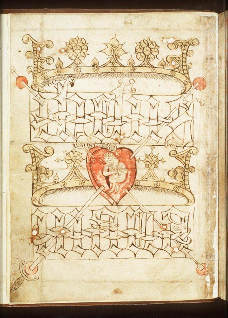 In een dubbel hart zit het kind Jezus met een gesel en roede in zijn handen. De gekroonde namen van Jezus en Maria staan boven en onder het kind. Lans en spons verbinden de vier wonden in de hoeken met de namen en het hart.