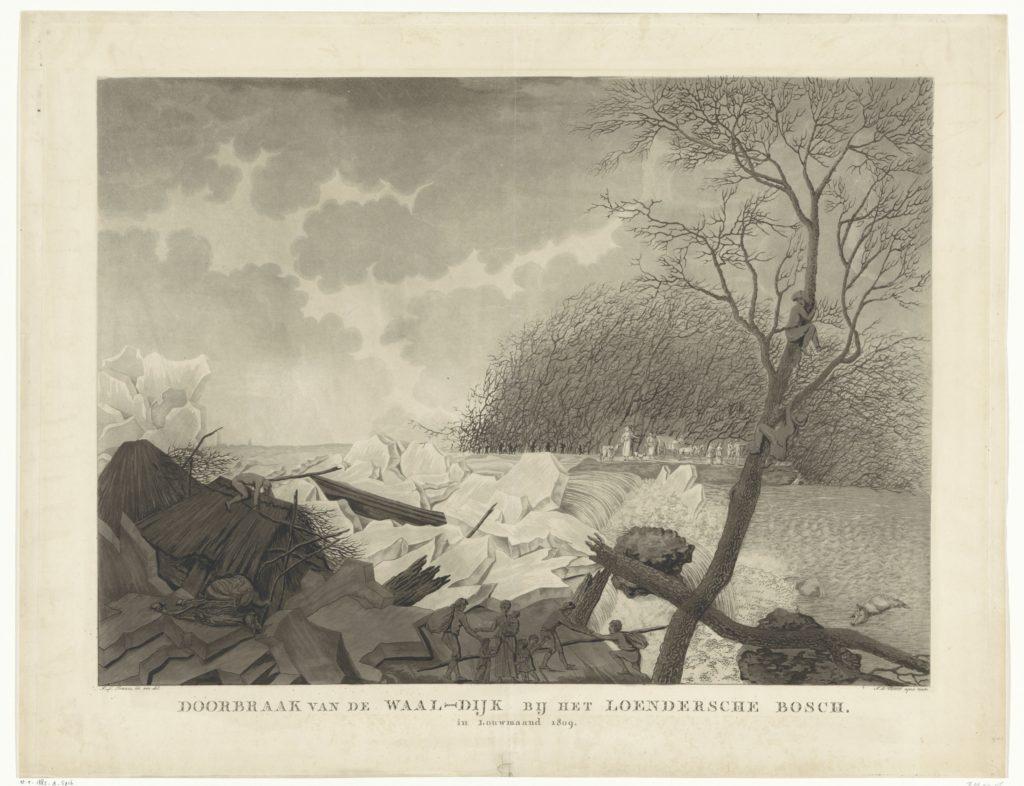 Op de prent van De Vletter is de doorbrekende Waaldijk te zien. Water kolkt vanuit de rivier in het lager gelegen gebied. Op de voorgrond staat de figuurgroep die liefde en solidariteit symboliseert. Op de achtergrond vluchten mensen uit het rampgebied.