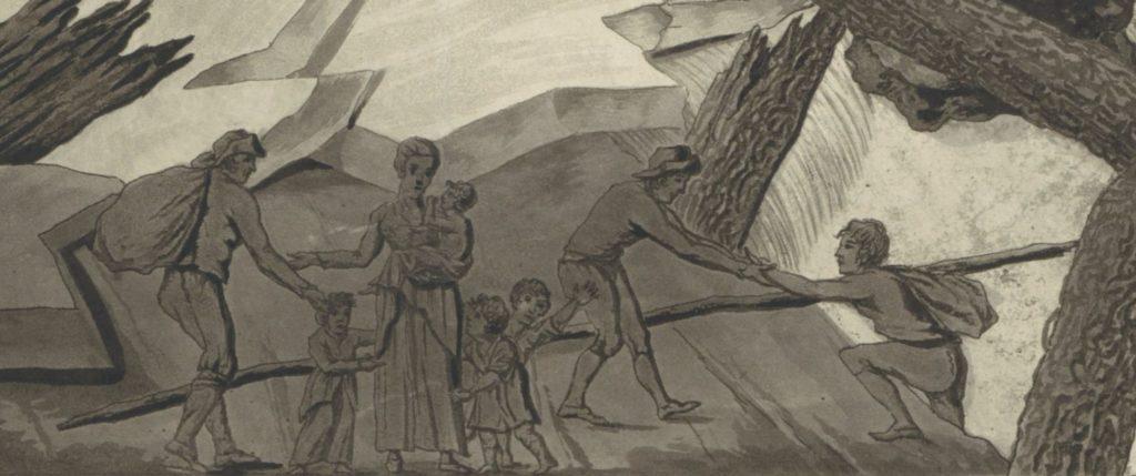 Detail van de prent van De Vletter met de watersnood van 1809. In het midden staat een vrouwenfiguur met kinderen, een op de arm. Zij personifieert liefde of Caritas. Een man nadert haar van links. Een man trekt een ander op het droge.