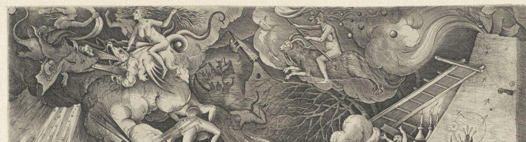 Door de lucht vliegen heksen die druk bezig zijn om bliksem, wind en hagel op te roepen. Tussen de wolken door wordt een overstroomd landschap zichtbaar waar mensen in nood zich nauwelijks kunnen redden. Een man die op de kerktoren is geklommen, stort met spits en al in het kolkende water.