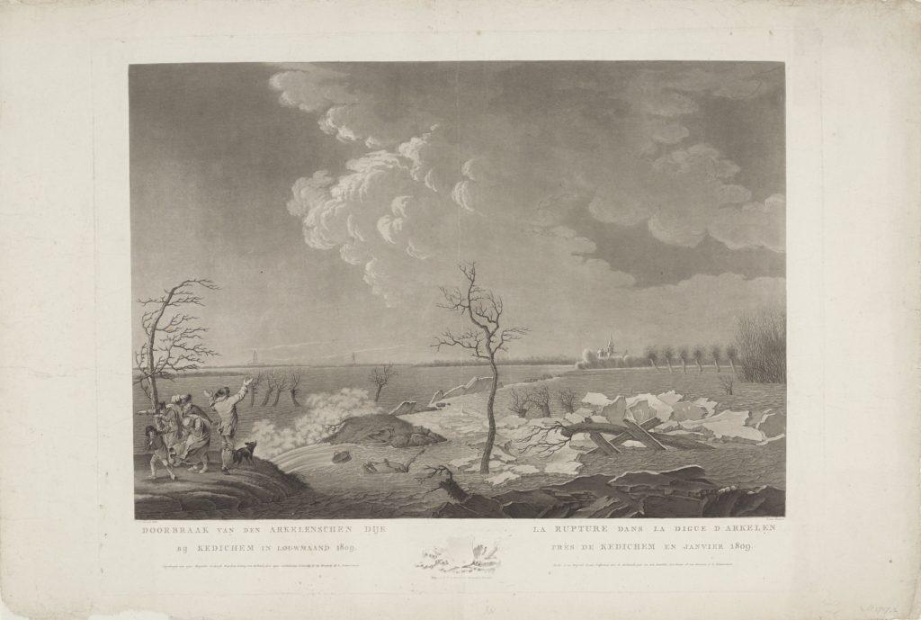 Op de voorgrond breekt de Arkelense dijk bij Kedichem. Een groepje mensen kijkt wanhopig toen. Op de dijk staan twee bomen.