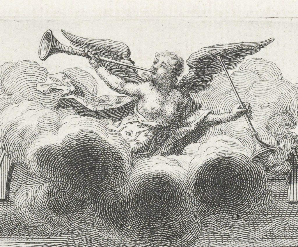 Detail met de gevleugelde figuur die de voorstelling bekroont. Ze blaast op een bazuin en houdt de ander naar beneden gericht naast zich. Het is Fama, de godin van het gerucht.
