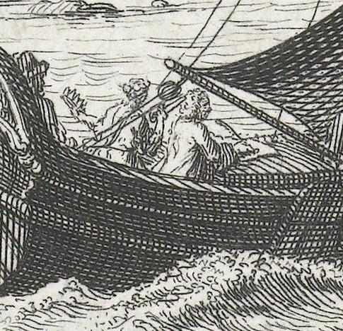 Detail van de voorgaande afbeelding van twee figuren in het grote zeilschip. Het zijn een man die aan het schrijven is, en een vrouw met kroon en dolk in handen. Dit is Melpomene, de muze van de tragedie.