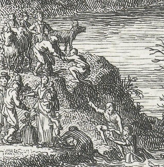 Het detail van Philips' prent toont een vrouwenfiguur met drie kinderen. Zij is de personificatie van de Caritas of de liefde. Een paar mannen nadert haar van links en vragen om hulp. Andere mannen slepen drenkelingen uit het water op het droge.