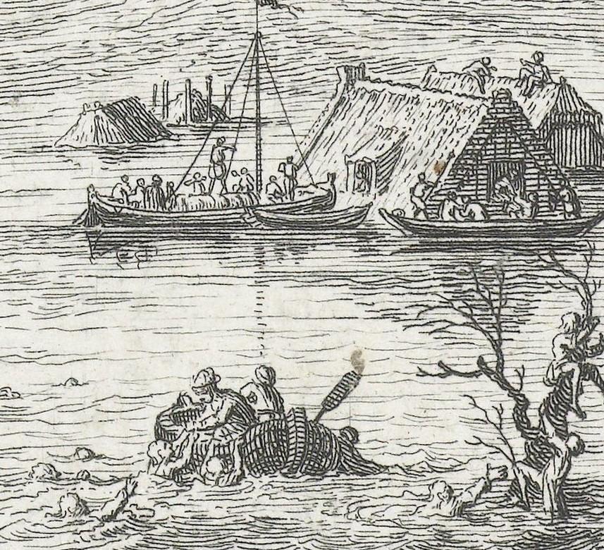 Dit detail van de prent van Philips toont een stukje van het ondergelopen landschap met daarin scènes van hulpvaardigheid en liefde. Op de voorgrond trekken twee figuren in een roeibootje drenkelingen uit het water. Op de achtergrond vaart een kleine zeilboot naar ondergelopen huizen waar mensen hun toevlucht hebben gezocht op de daken.