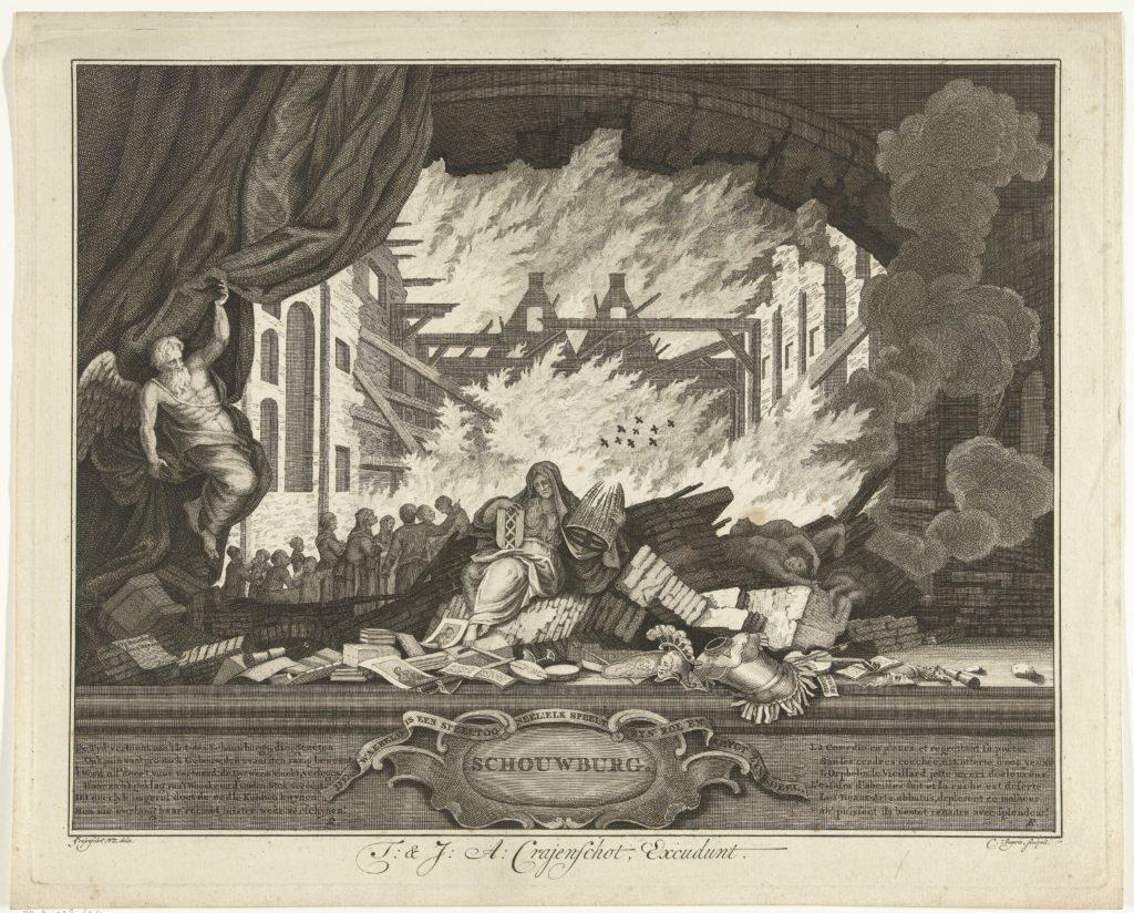 De allegorische titelplaat geeft een zicht op de brand met op de voorgrond de treurende personificatie van Amsterdam die tegelijkertijd ook de schouwburg belichaamt. Ze zit op de brokstukken van het theater.