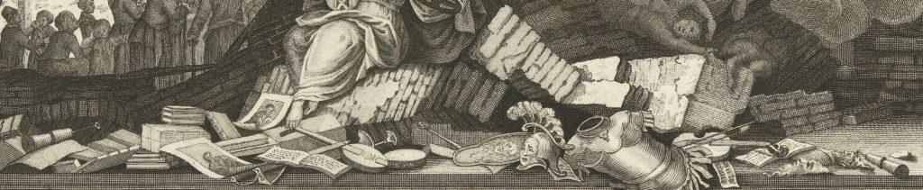 De allegorische titelplaat toont het verlies van het culturele hart omdat  op de voorgrond allerlei voorwerpen liggen die het belang van de schouwburg voor cultureel Amsterdam onderstrepen, zoals boeken, bladmuziek en portretten van toneelschrijvers.