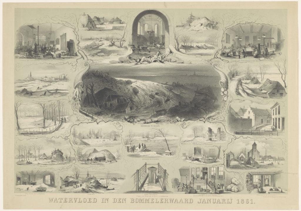 Voorstellingen van overstroomde plaatsen en andere bijzonderheden in de Bommelerwaard. De litho bevat veel details die tegemoet lijken te komen aan een nieuwshonger.