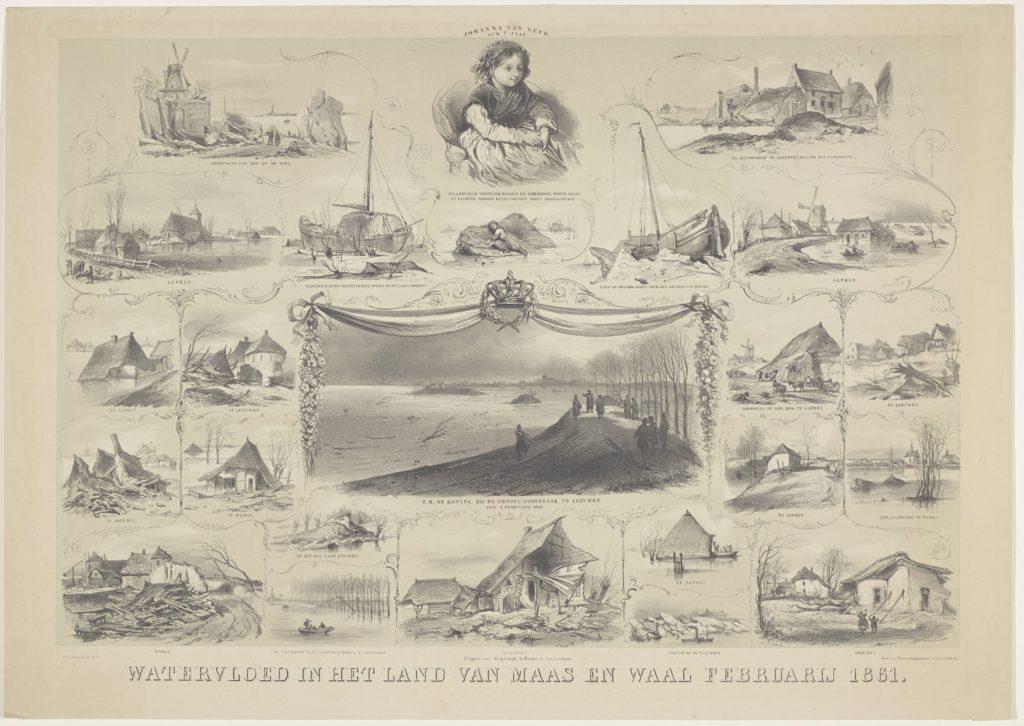 Voorstellingen van overstroomde plaatsen en andere bijzonderheden in het Land van Maas en Waal. ook deze prent bevat een grote hoeveelheid details verdeeld over 24 kleine  scènes.