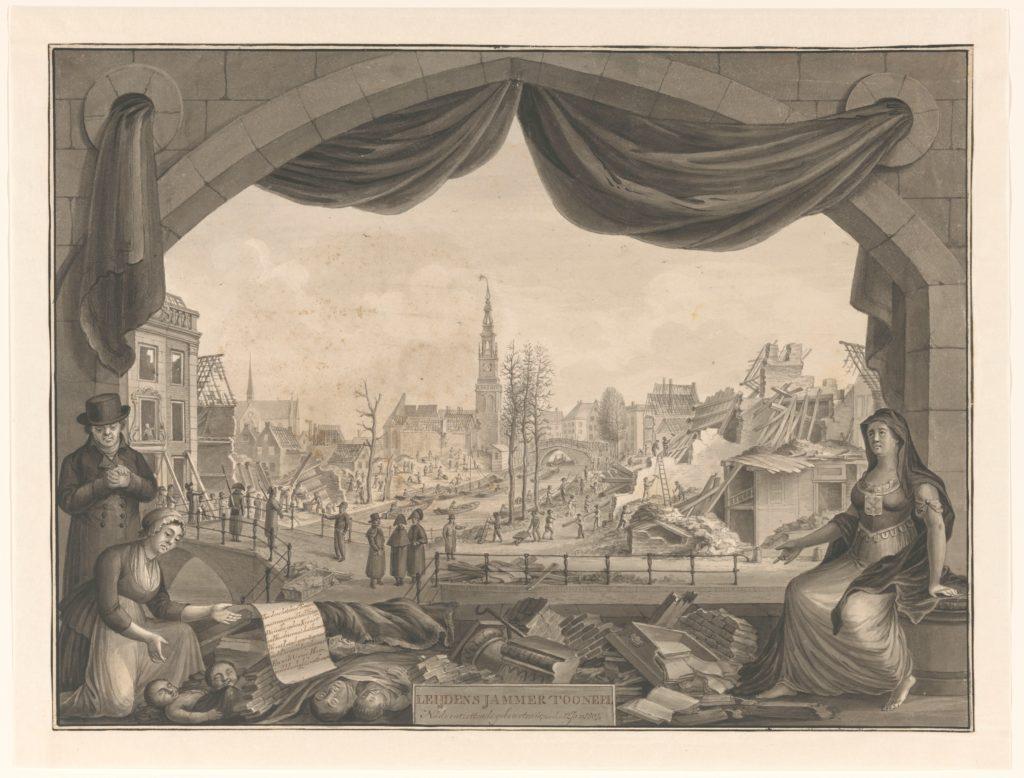 De allegorische voorstelling van de buskruitramp toont een zicht op de ruïnes van de stad. De tekenaar gunt een blik op de stad via een podium waarop allerlei figuren, brokstukken en voorwerpen zijn gearrangeerd.