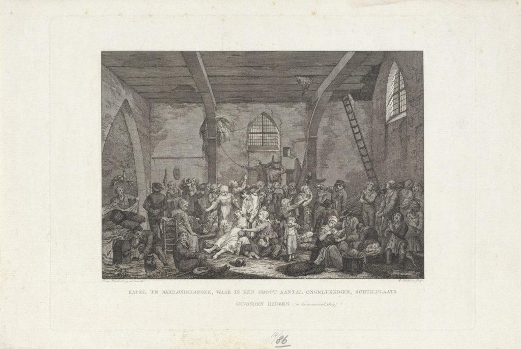 Het drama van Baybloniénbroek in prent gebracht door reinier Vinkeles naar een ontwerp van Cornelis van Hardenbergh