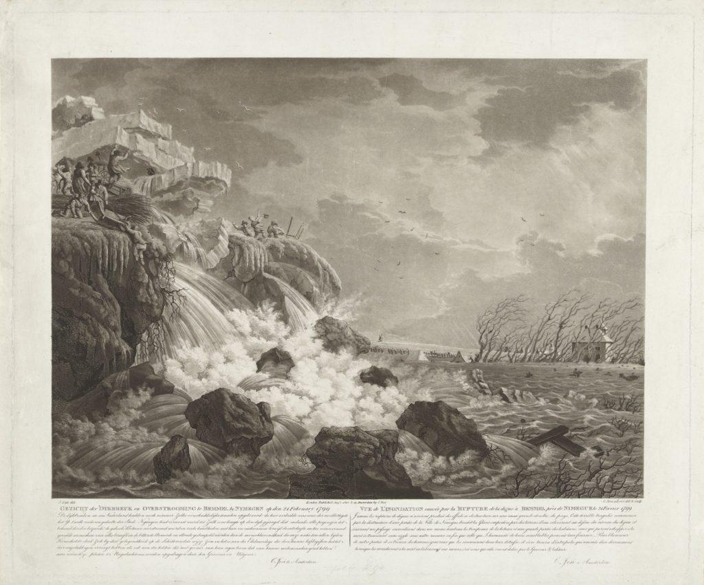 Dijkbreuk en overstromingen bij Bemmel in 1799, ets en aquatint