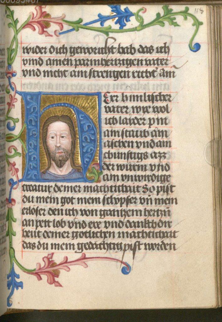 Initiaal met het gelaat van Christus, miniatuur in een gebedenboek voor nonnen