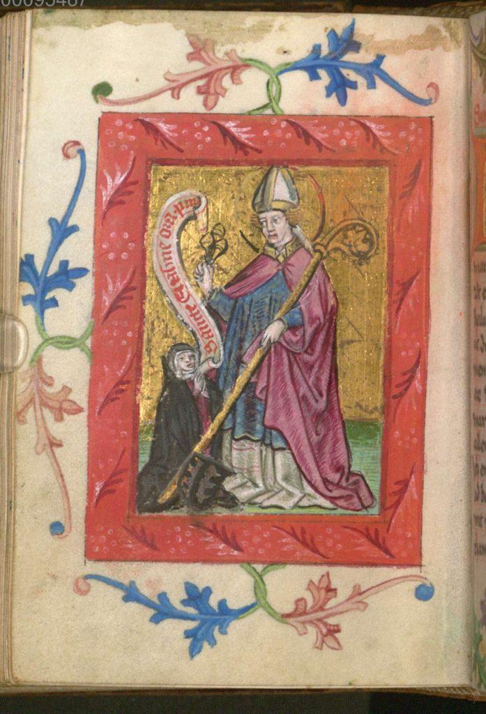 Heilige Erasmus met een biddende non, miniatuur in een gebedenboek voor nonnen