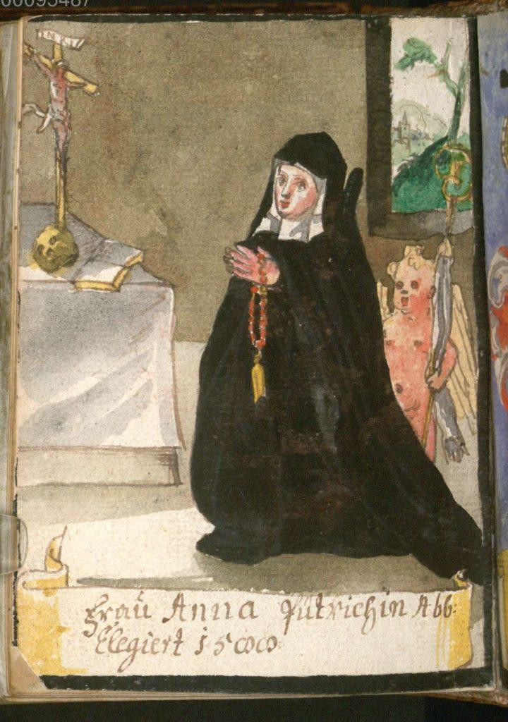 Portret van Anna Pütrich, abdis van klooster Nonnberg, later toegevoegde miniatuur in een gebedenboek voor nonnen