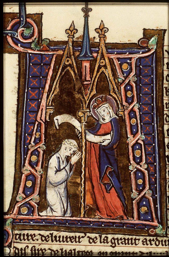 Monnik in gebed voor Maria