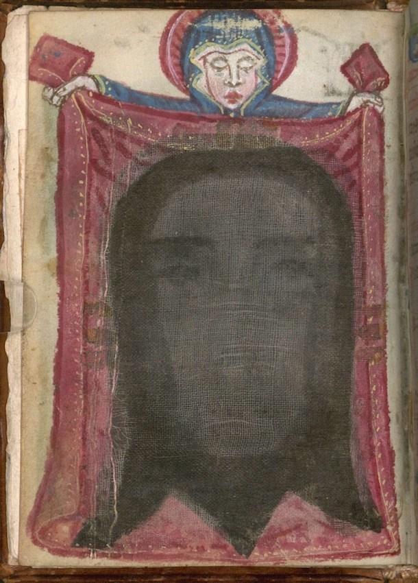 Heilige Veronica met het gelaat van Christus, miniatuur met stof in een gebedenboek voor nonnen