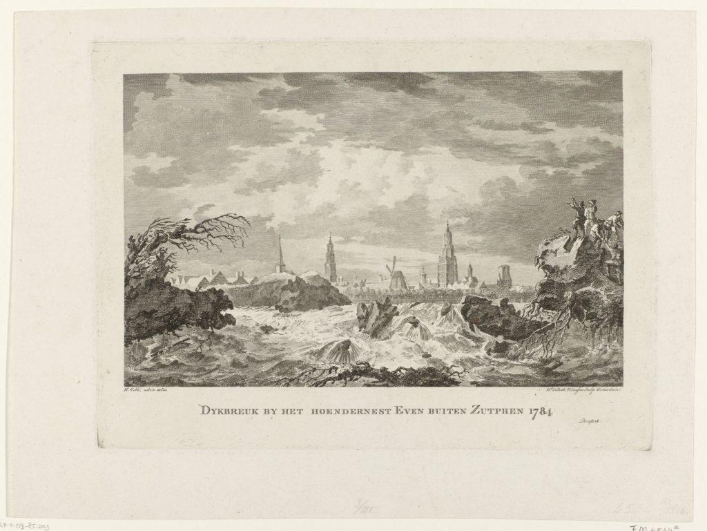 Dijkbreuk bij het Hoendernest even buiten Zutphen 1784, ets en gravure