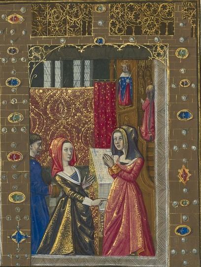 Genezing van Jehannette, detail rechtsboven: Jehannette bidt tot de heilige Lodewijk en kan weer lopen