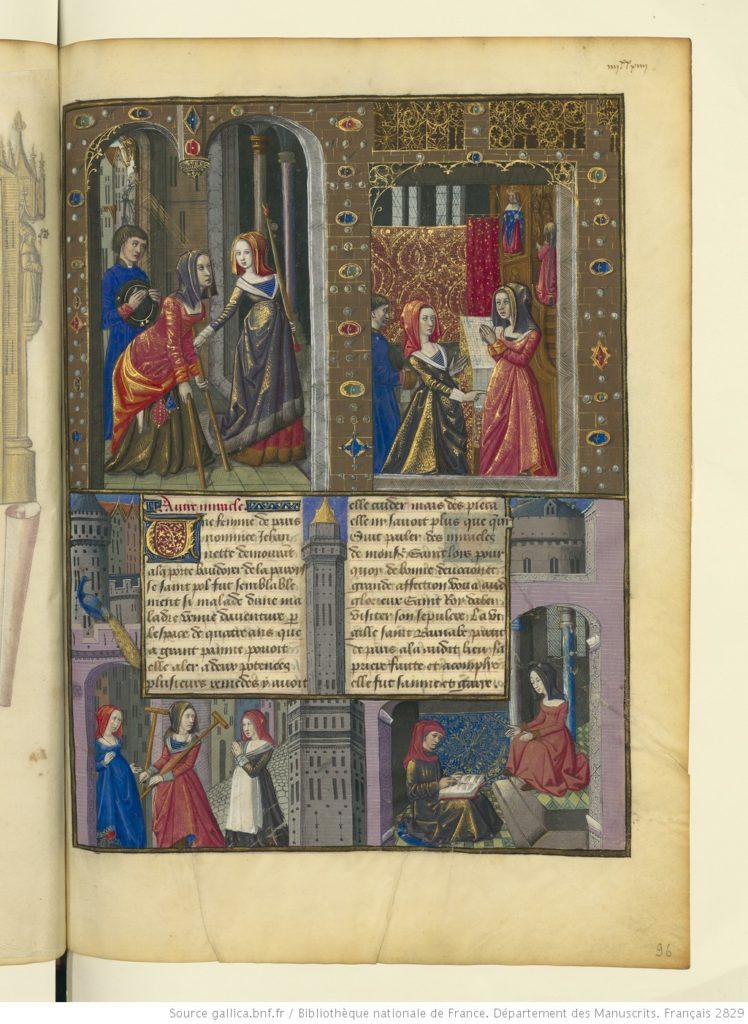Genezing van Jehannette op voorspraak van de heilige Lodewijk, miniatuur in Vie et miracles de monseigneur Saint Louis