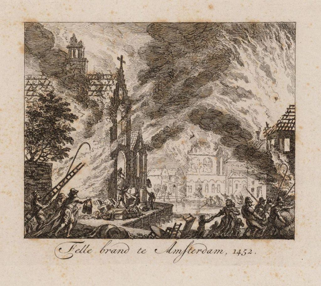 Brand te Amsterdam, met een kerk, mogelijk de kapel waar het sacrament van Amsterdam werd bewaard