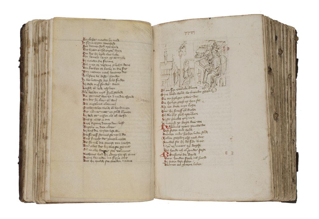 De tekening van paus Gregorius toont twee belangrijke aspecten uit diens leven, zijn schrijverschap en het vernietigen van afgodsbeelden.