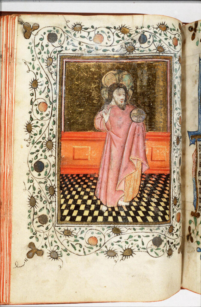 De tekening van Christus gaat deels terug op voorstellingen van de salvator mundi.