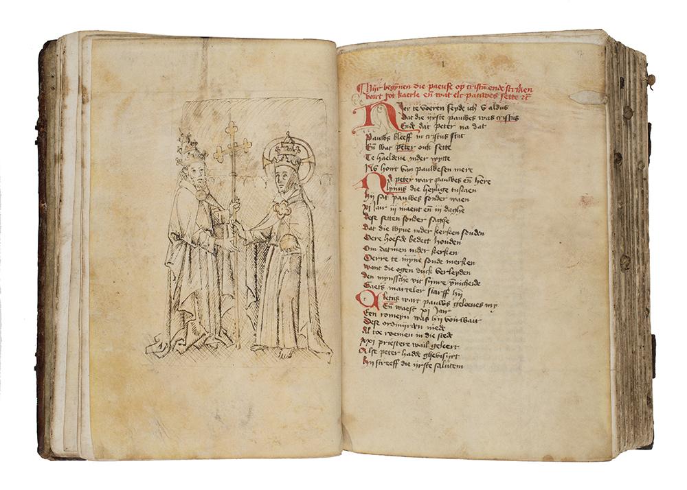 De tekening van Christus en Petrus aan het begin is een belangrijke voorstelling in het boek.